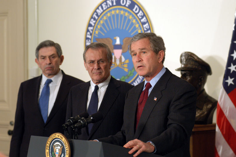 Tony Blair, Donald Rumsfeld, George W Bush